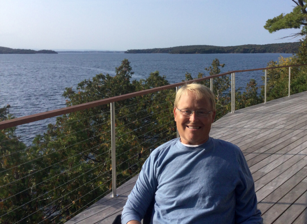 Travis Roy, on the deck of his home on Lake Champlain in Colchester, Vermont.