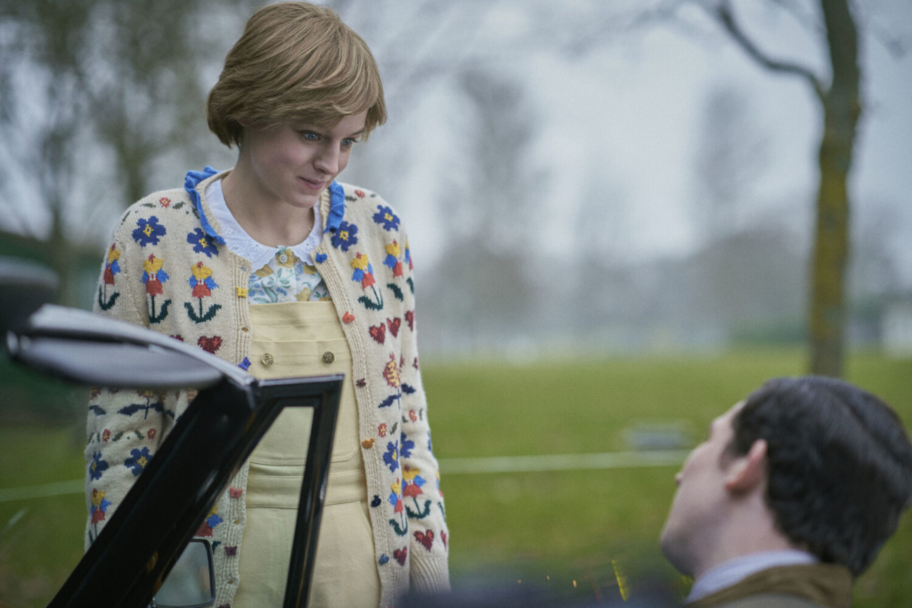 """Emma Corrin as Diana Spencer, left and Josh O'Connor as Prince Charles in """"The Crown."""""""