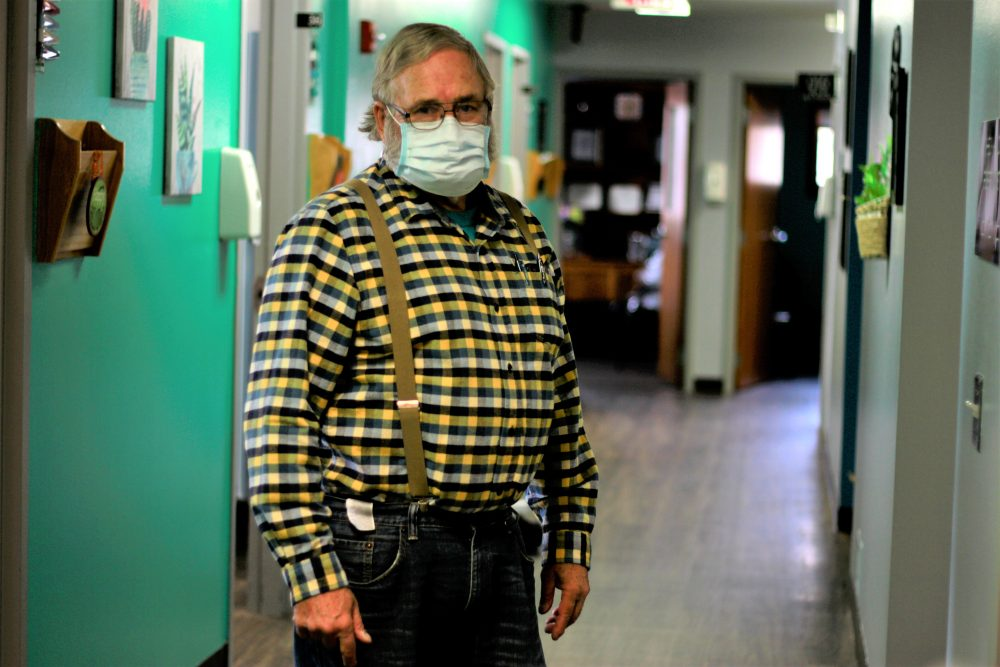 Dr. Tom Dean at his clinic in Wessington Springs, S.D., on Friday. He is one of three doctors in the county, which has seen one of the nation's highest rates of coronavirus cases per person. He writes a column in the local newspaper, the True Dakotan, urging people to take precautions.