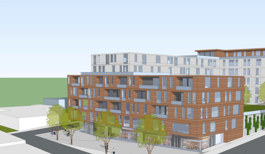 Architectural rendering of the proposed apartment building on Hanover Street in Portland.
