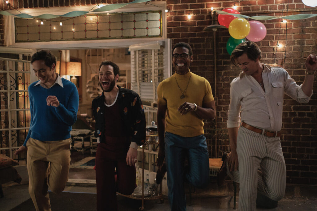 """""""The Boys in the Band"""" (2020) features, from left, Jim Parsons as Michael, Robin De Jesus as Emory, Michael Benjamin Washington as Bernard and Andrew Rannells as Larry. Cr. Scott Everett White/NETFLIX ©2020"""