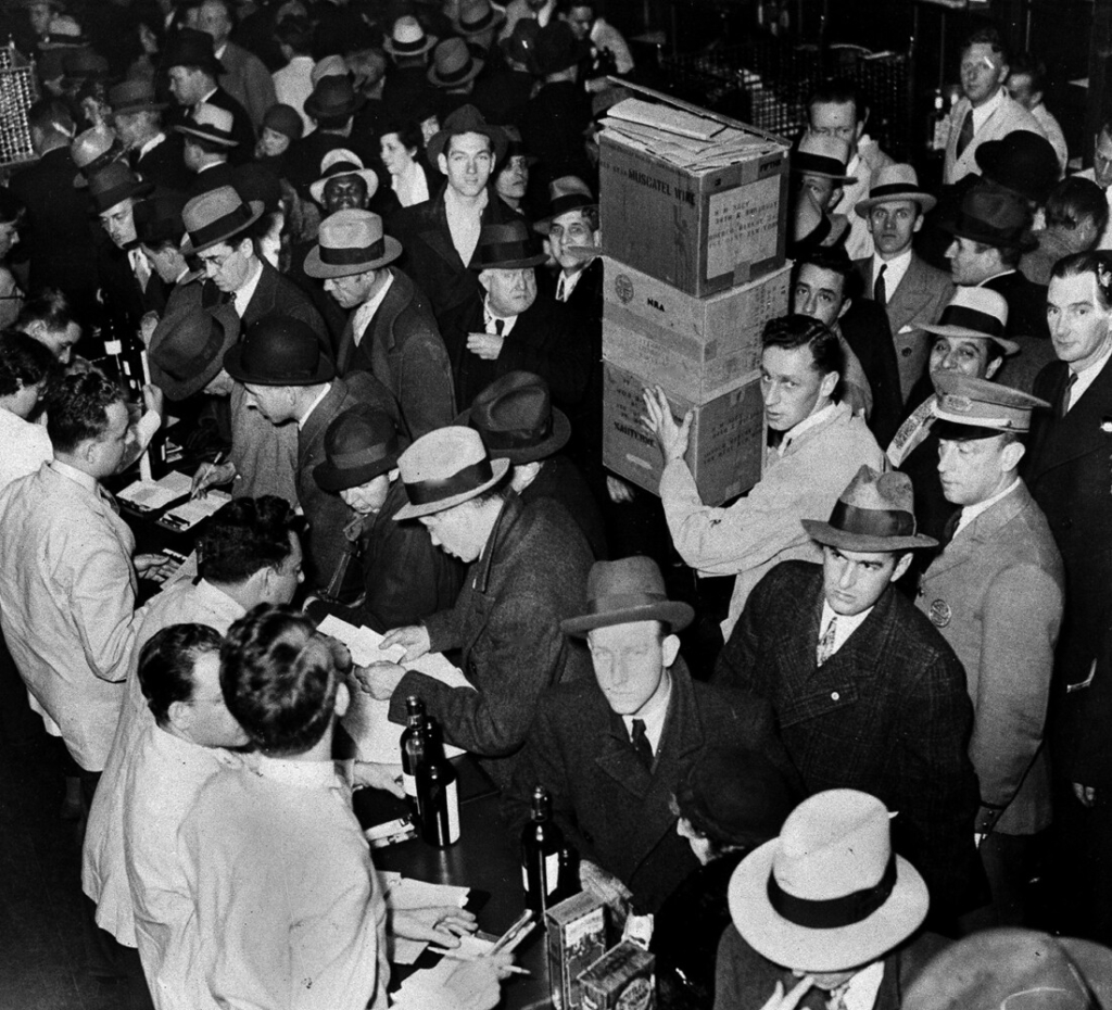 As soon as the prohibition repeal was ratified, wholesale houses got busy delivering the goods to anxious customers, as seen in New York, Dec. 5, 1933.