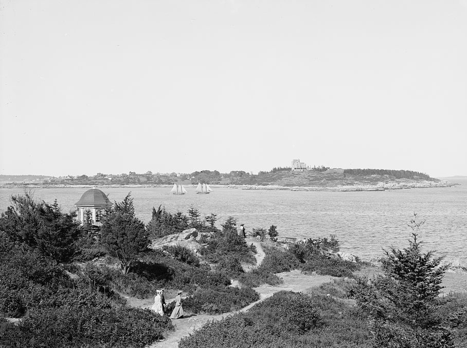 Cushing Island from Cape Cottage Casino on the shore of Cape Elizabeth in 1900.