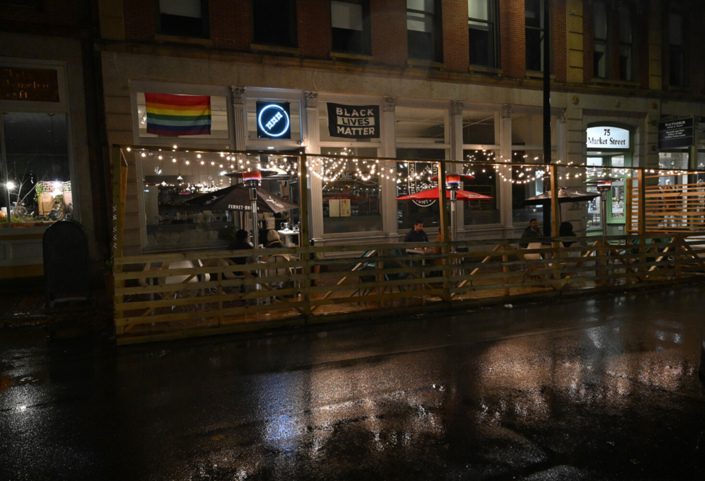 The Portland Hunt & Alpine Club was open for outdoor seating Sunday night.