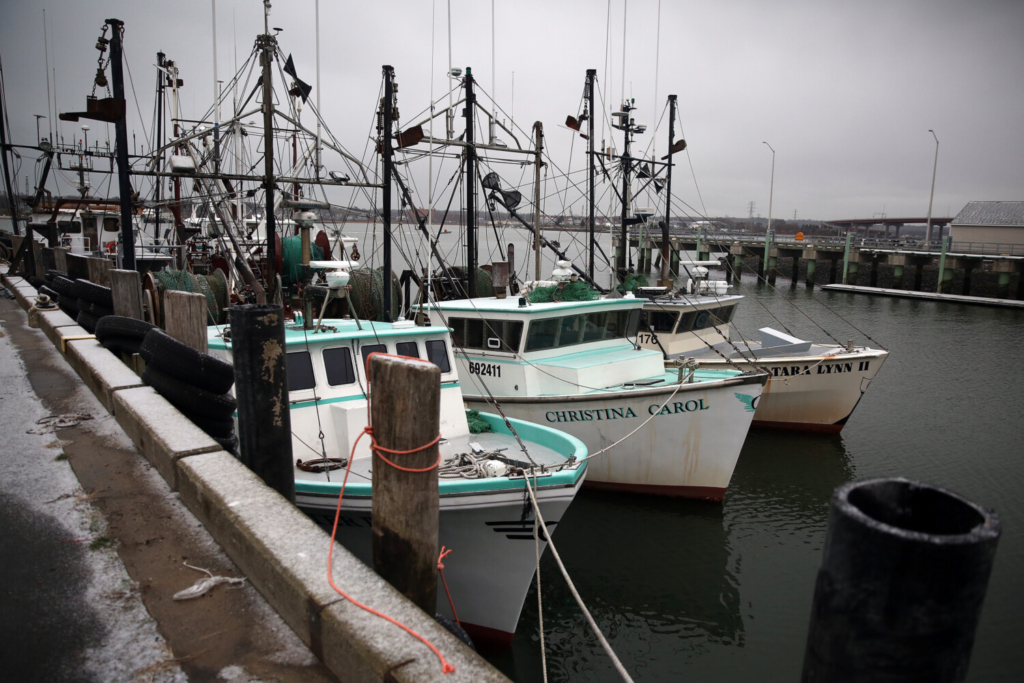 Fishing boats tie up at Portland's Fish Pier. in November. A federal report said the seafood industry at large has been hit hard by restaurant closures, social distancing protocols and the need for safety measures.