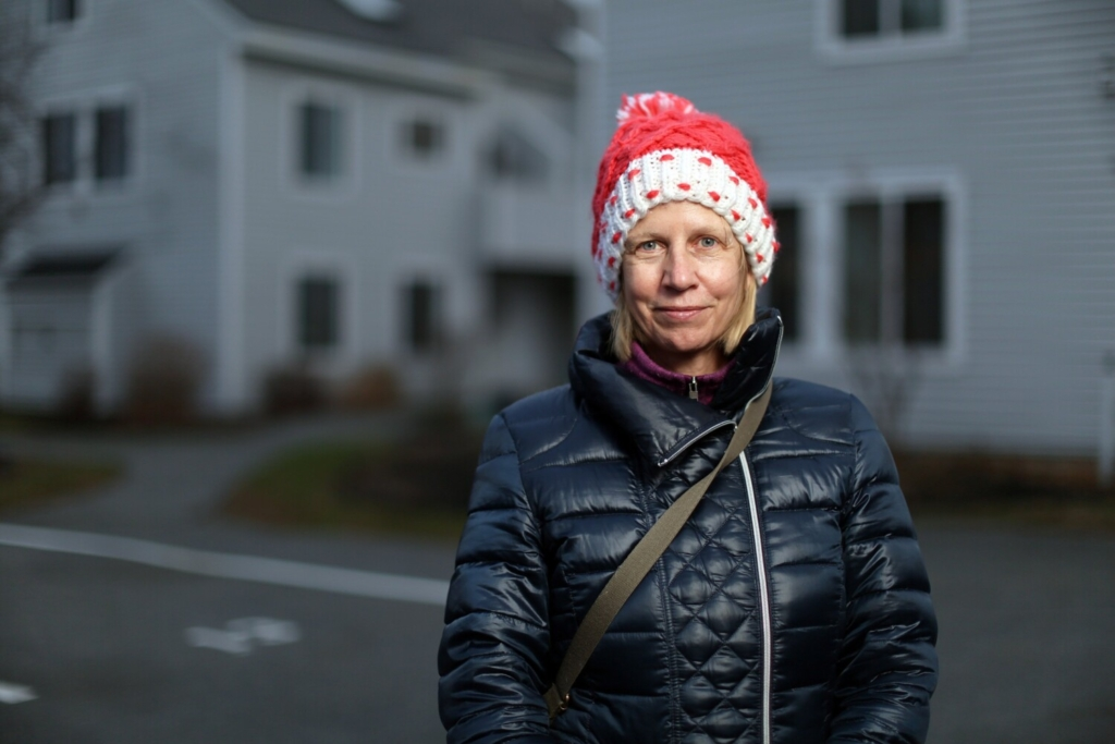 Judy Sedgewick, photographed in South Portland on Thursday, and her family have vacationed in Maine during the summer for years and decided this summer that they would move here full time from Massachusetts.