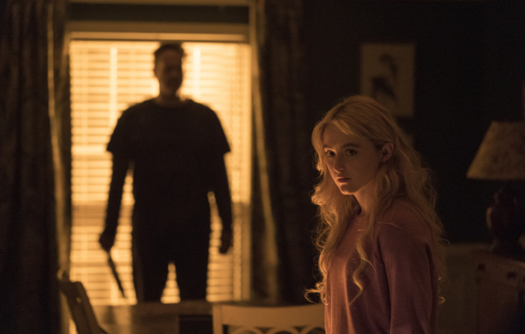 "Kathryn Newton and Vince Vaughn, left, in a scene from ""Freaky."""