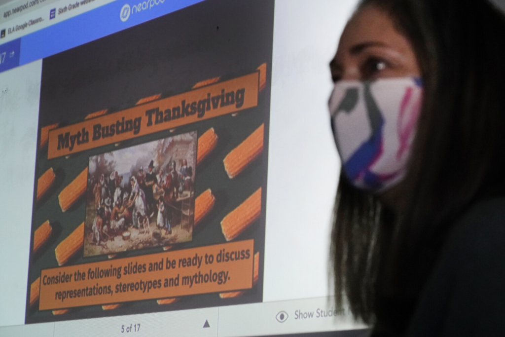 Susannah Remillard teaches her sixth-grade students at Cape Cod Lighthouse Charter School, Thursday in East Harwich, Mass. In a growing number of U.S. schools, students are now learning a more complex Thanksgiving story that involves conflict, injustice and a new focus on the native people who lived in New England for centuries before European settlers arrived. (AP Photo/Elise Amendola)
