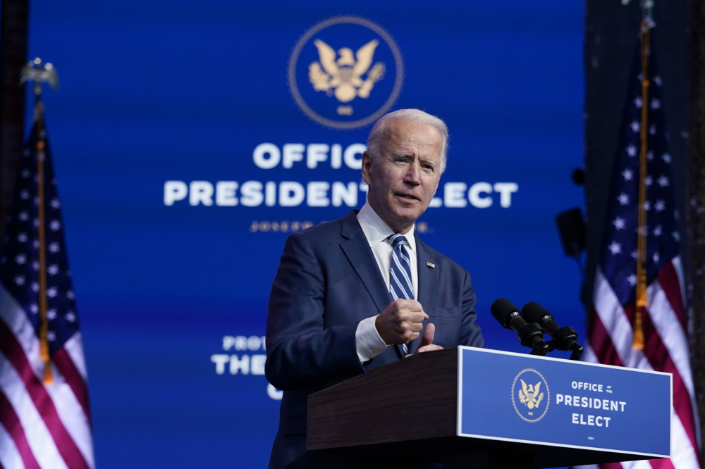 President-elect Joe Biden speaks at The Queen theater Tuesday, in Wilmington, Del.