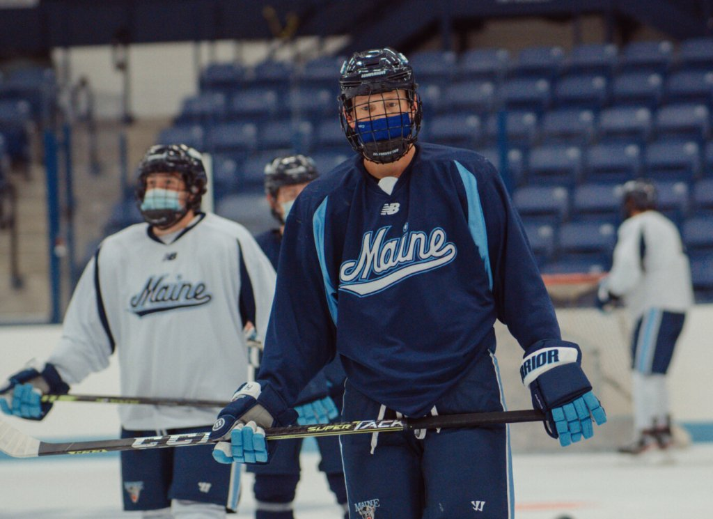 The University of Maine men's hockey team skates during a recent practice. The Black Bears have struggled defensively during their first four games, committing 29 penalties and allowing 21 goals.