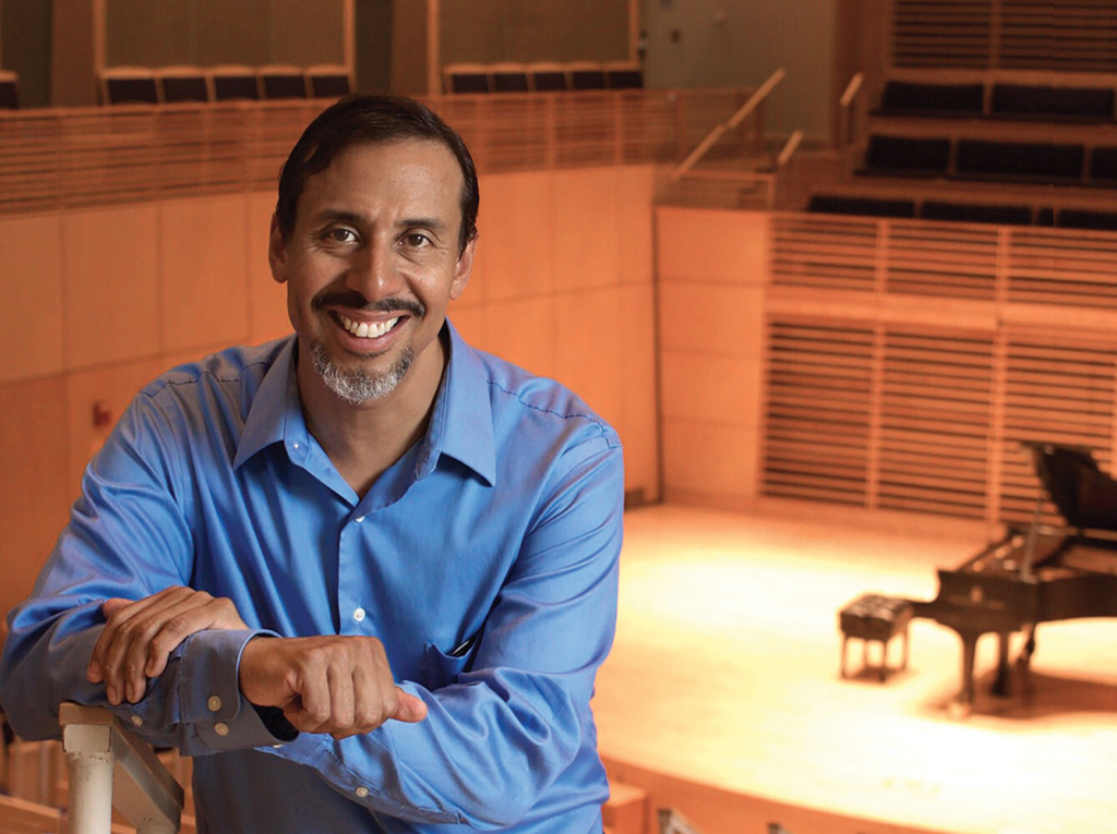 George Lopez, pianist and conductor of the Bowdoin Chamber Orchestra.