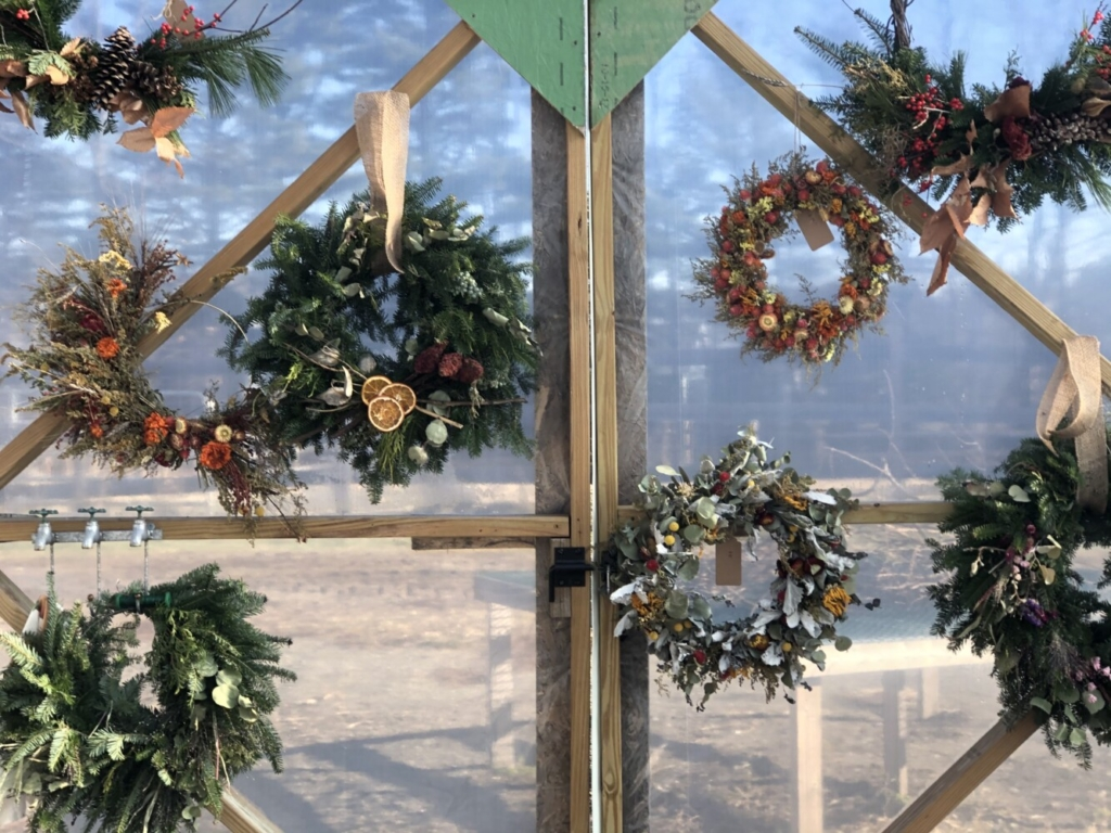 Examples of wreaths from Lazy Acres Farm in Farmingdale.