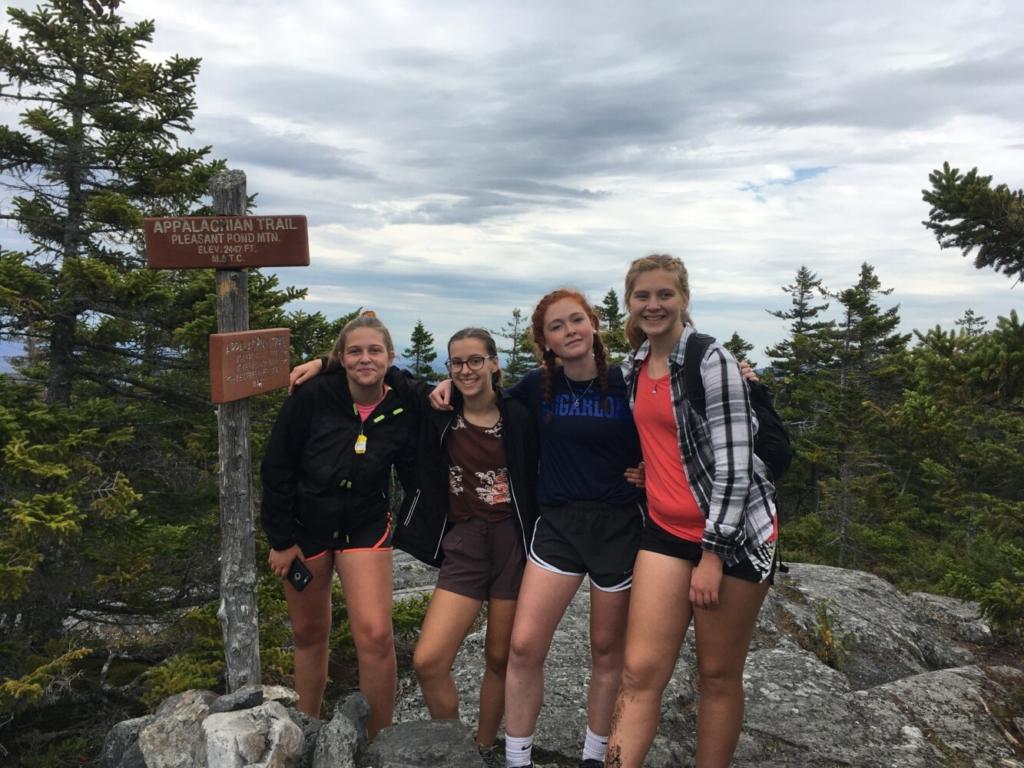 Maranacook Community School School outing club students from left, Kusha Kane, Claire Holman, Julia Riley and Emily Lucas, at Pleasant Pond in Caratunk.