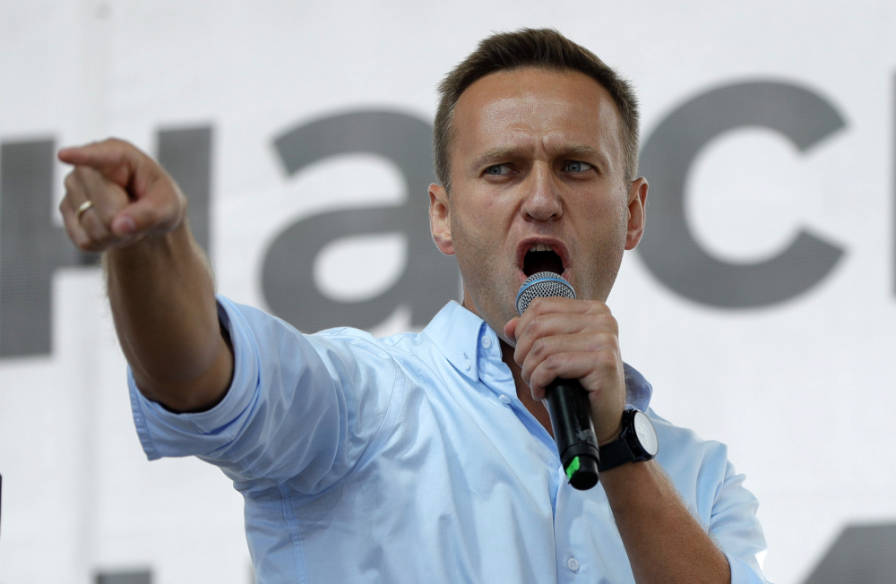 Russian opposition activist Alexei Navalny speaks to a crowd during a political protest in Moscow in 2019. (AP Photo/Pavel Golovkin, File)