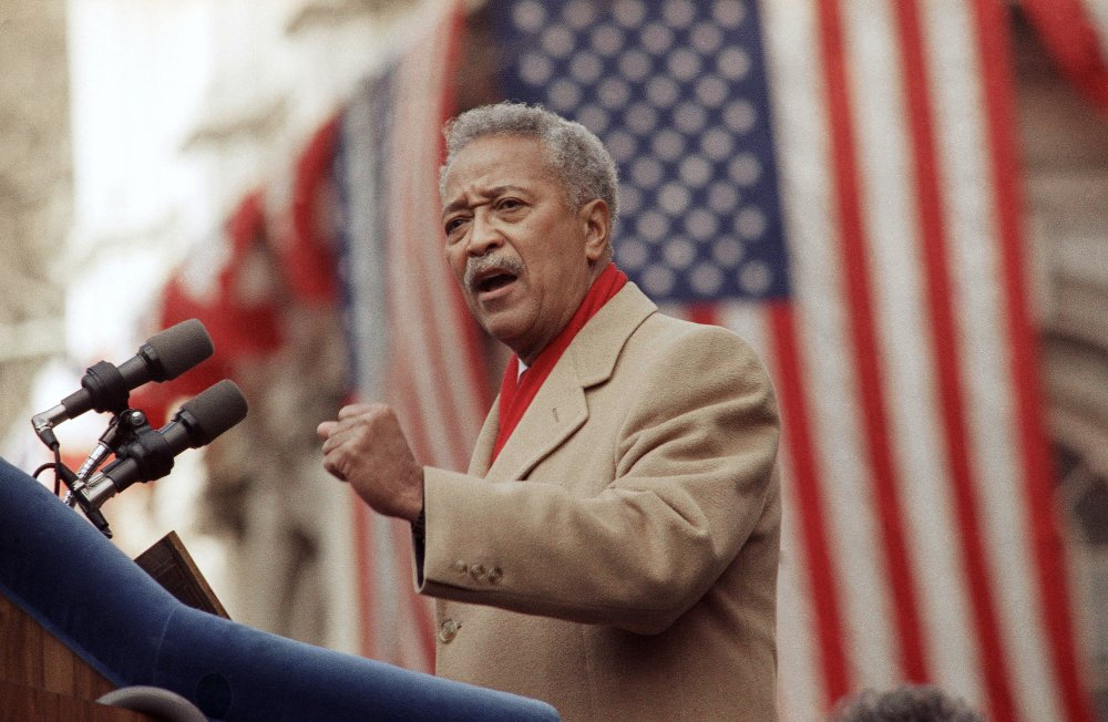 David Dinkins delivers his first speech as mayor of New York in Jan. of 1990. Dinkins, New York City's first African-American mayor, died Monday. He was 93. (