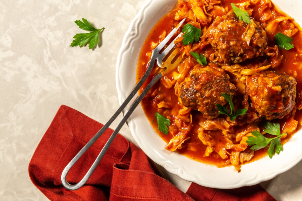 Un-Stuffed Cabbage Meatballs in Sweet-and-Sour Tomato Sauce