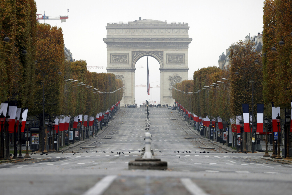 The Champs Elysees avenue in Paris was empty on Wednesday during the Armistice Day ceremonies marking the end of World War I.