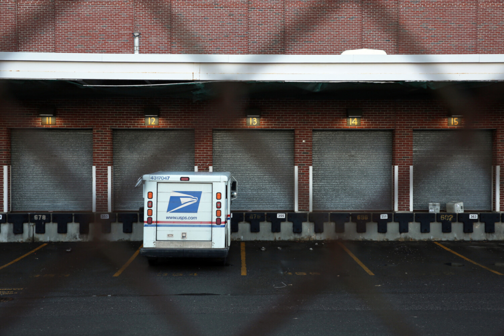 A U.S. Postal Service truck is parked at the Post Office off Brattle Street in Portland on Tuesday.
