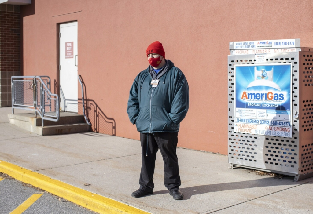 Anthony Emerson outside the Shaw's Northgate in Portland  after his shift on Wednesday. Emerson has worked at the grocery store for over six years.