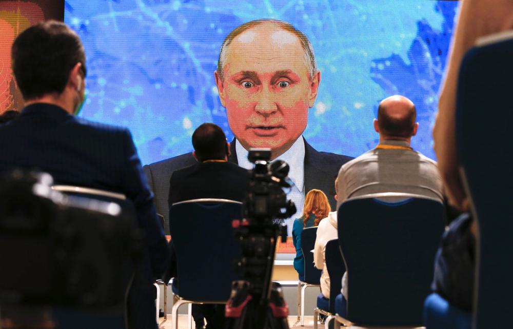 Russian President Vladimir Putin speaks via video call during a news conference in Moscow, Russia, Thursday, Dec. 17.