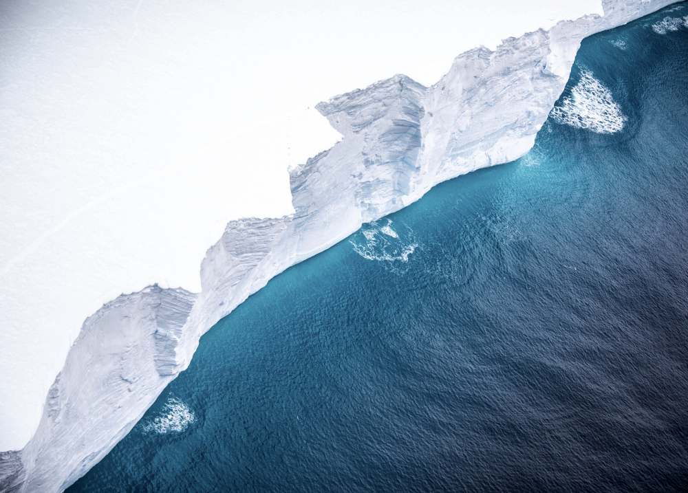 One of the largest recorded icebergs floats near the island of South Georgia, South Atlantic. It's about the size of Delaware.