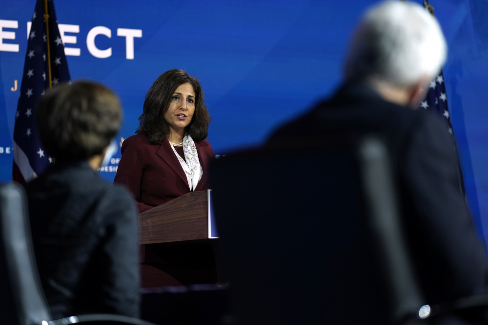Neera Tanden, President-elect Joe Biden's nominee to serve as director of the Office of Management and Budget, speaks Tuesday at The Queen theater in Wilmington, Del.