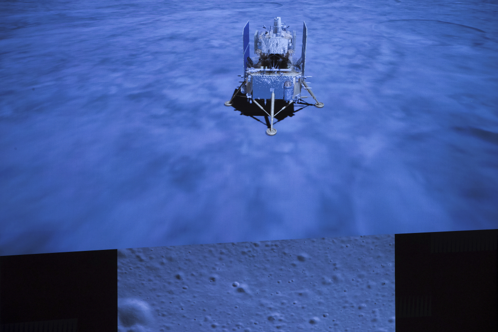 The Chang'e-5, a Chinese spacecraft, landed on the moon Tuesday.