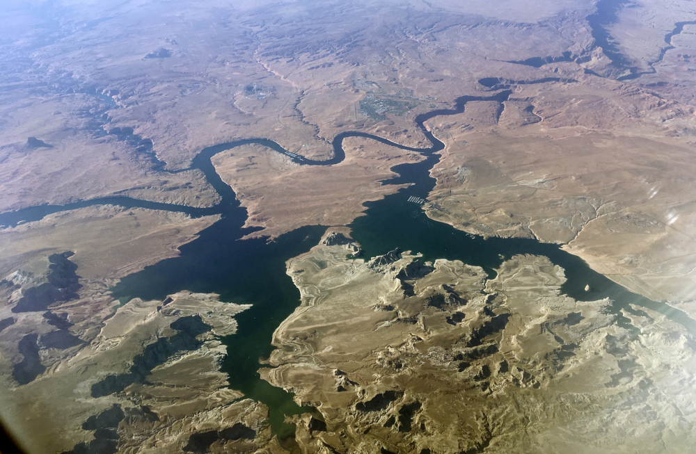 An aerial view of Lake Powell on the Colorado River along the Arizona-Utah border in September 2019.