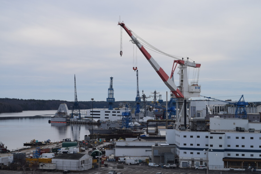 """An image of the Bath Iron Works Shipyard in December. The company, owned by defense contractor General Dynamics, does screen potential hires for a panel of substances including opiates, barbiturates, cannabinoids and cocaine. But following Maine's push to legalize recreational cannabis, """"positive results on your cannabis testing will not be the basis for denial of a position at BIW."""""""