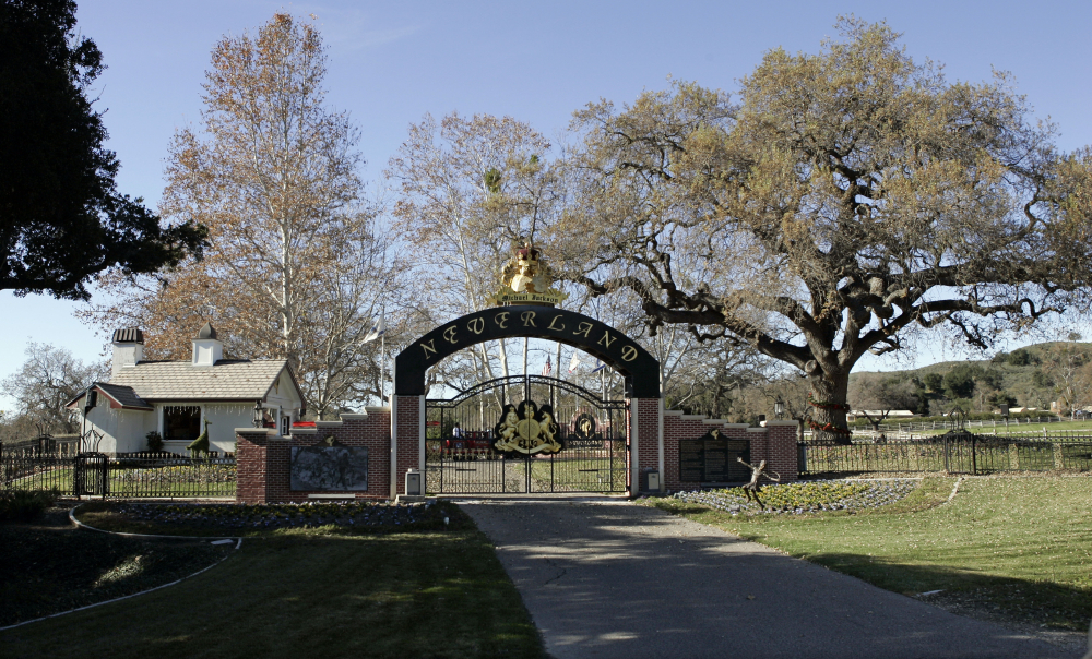 The rear entrance to Michael Jackson's Neverland Ranch home in Santa Ynez, Calif.
