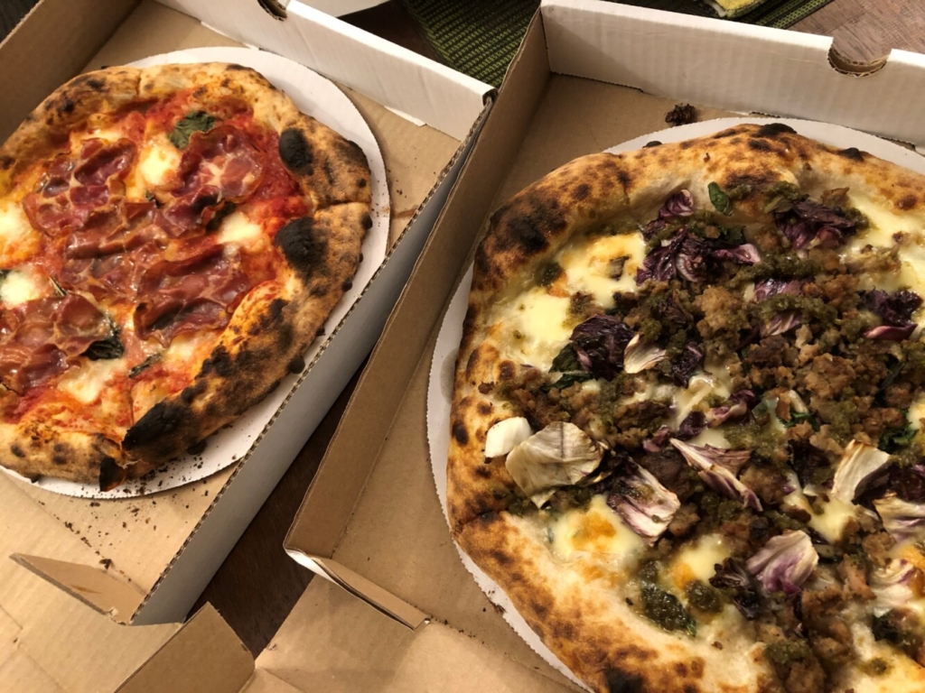 Left, the pizza Margherita. Right, oh that Maialino.