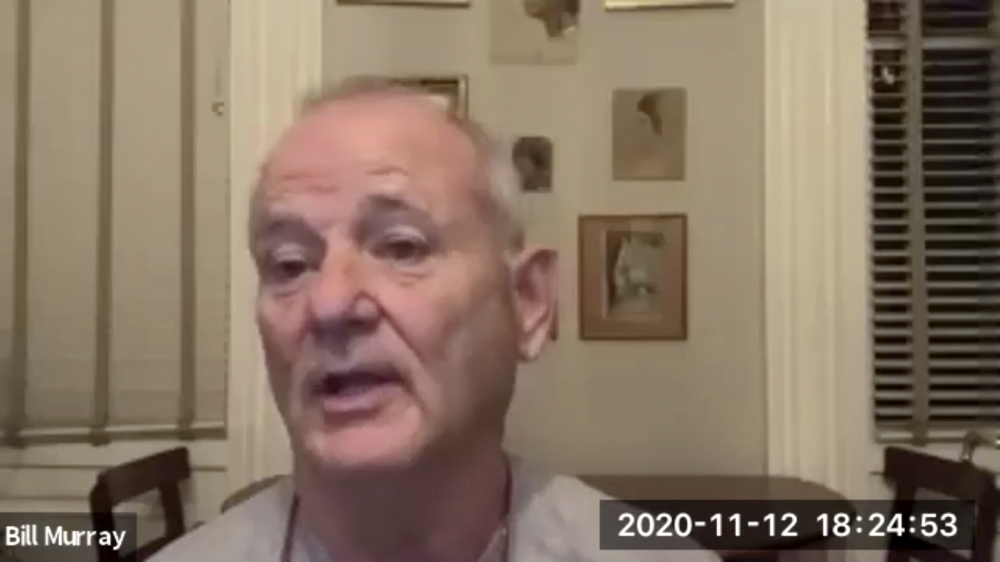 """Actor Bill Murray takes part in a virtual production of """"Poetry for the Pandemic"""" in November. On Sunday, Murray played Job in a biblical reading over Zoom put on by Theater of War Productions."""