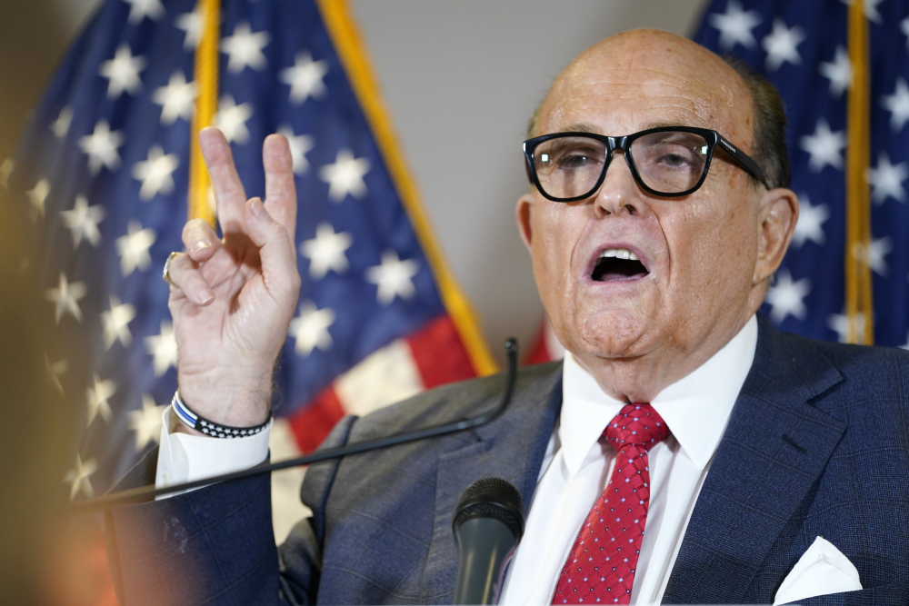 Rudy Giuliani is being sued for defamation by Dominion, the company that makes electronic voting systems that Giuliani falsely claimed were rigged against Donald Trump.
