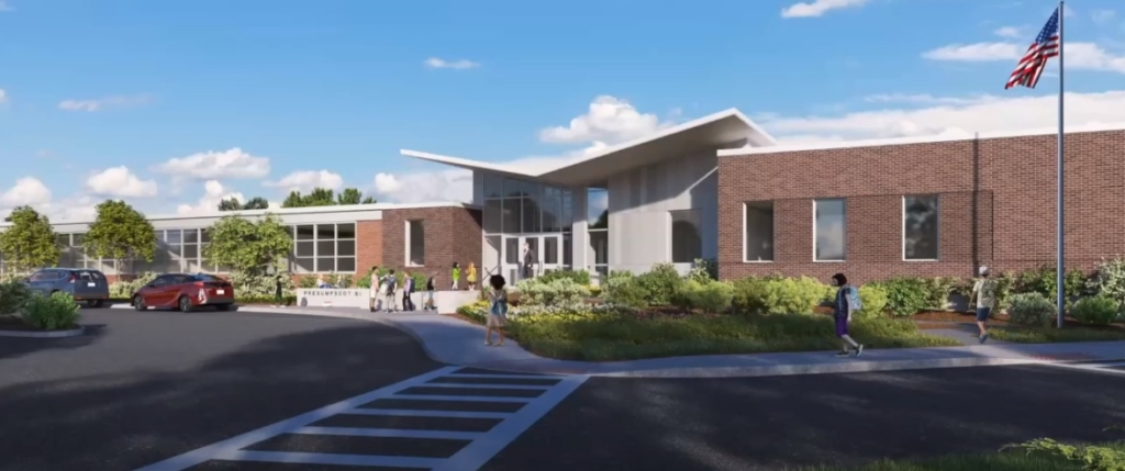 The Presumpscot Elementary School project includes replacing modular classrooms with a new wing, adding a cafeteria and space for music and art.