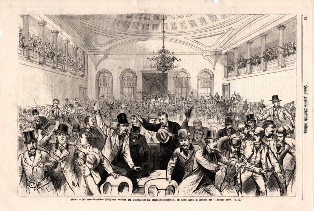 "The caption, translated from German, reads "" ""The Republican members left the ""meeting room"" of the House of Representatives in the State House at Augusta on January 7, 1880."" The illustration is from Frank Leslie's Illustrated Newspaper and it is showing the disarray in the state house on January 7, 1880."