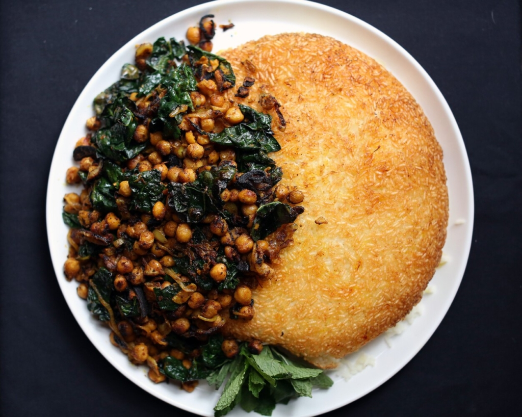 Tahdig, a Pesian-ish version, with spiced chickpeas.