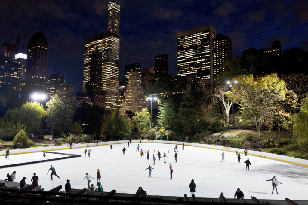 Skaters take to the ice at Wollman Rink in New York's Central Park in 2016. If the city revokes Trump's concessions, it would remove his name from the rink (along with another one, the Lasker Rink, at the park's northern end).