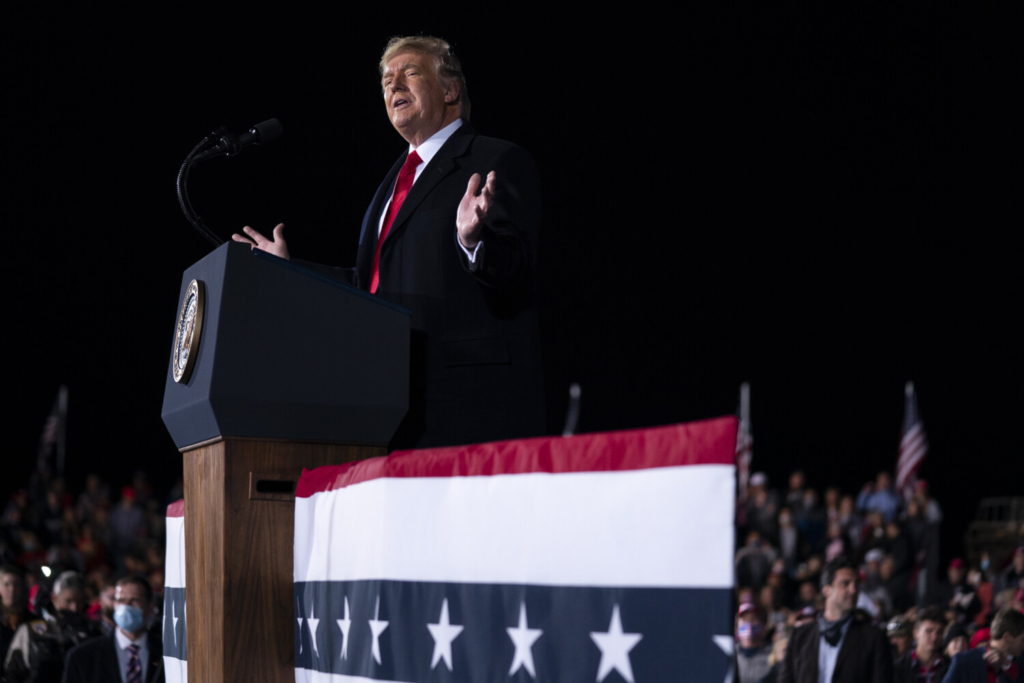 President Trump speaks during a campaign rally for Sen. Kelly Loeffler, R-Ga., and David Perdue at Dalton Regional Airport on Monday in Dalton, Ga. Loeffler said Monday that she would object to certification of the presidential election.