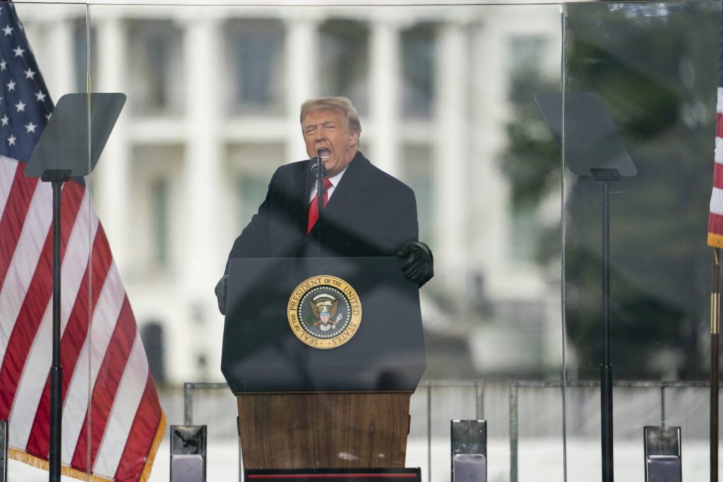 President Donald Trump speaks during a rally protesting the electoral college certification of Joe Biden as President, Wednesday, Jan. 6, 2021, in Washington. Trump enters the last days of his presidency facing a second impeachment and growing calls for his resignation after his supporters launched an assault on the nation's Capitol in an effort to disrupt the peaceful transfer of power. Yet Trump will try to go on offense in his last 10 days, with no plans of resigning. Instead, Trump is planning to lash out against the companies that have now denied him his Twitter and Facebook bullhorns. And aides hope he will spend his last days trying to trumpet his policy accomplishments, beginning with a trip to Alamo, Texas Tuesday, Jan. 12, 2021. (AP Photo/Evan Vucci)