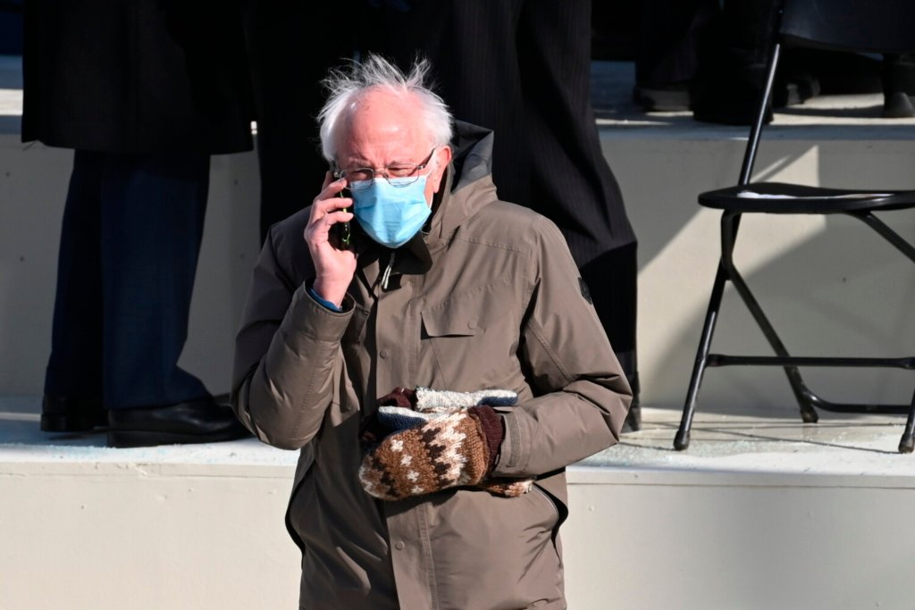 U.S. Sen. Bernie Sanders of Vermont wore his mittens to the presidential inauguration of Joe Biden on Wednesday. It's not the first time his mittens drew attention.