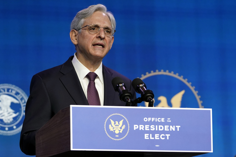 Attorney General nominee Merrick Garland speaks during an event with President-elect Joe Biden and Vice President-elect Kamala Harris at The Queen theater in Wilmington, Del., on Thursday.