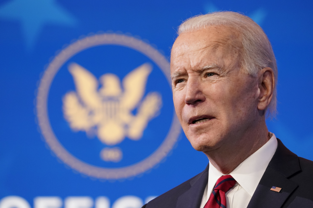 President-elect Joe Biden speaks during an event at The Queen theater on Friday in Wilmington, Del.