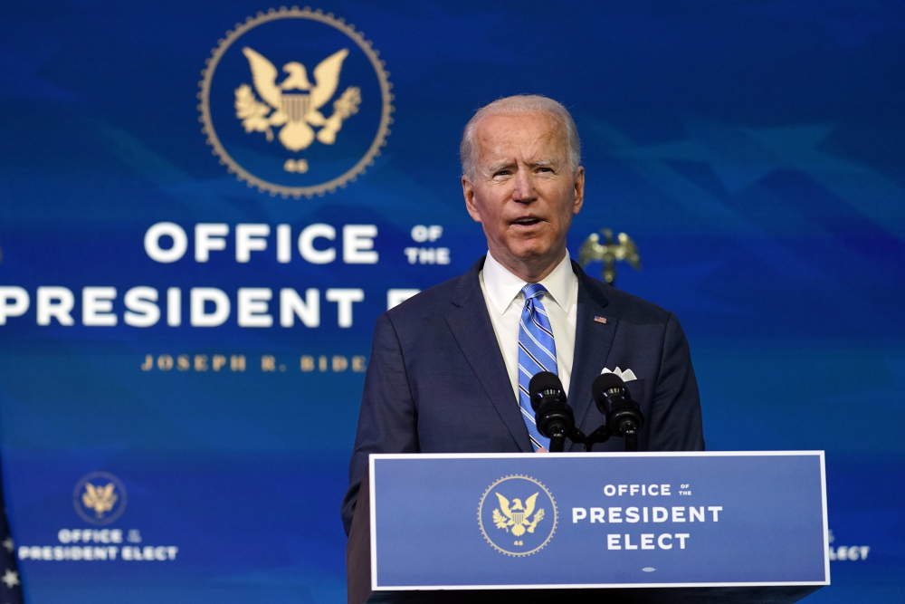 President-elect Joe Biden unveils his plan to fight the COVID-19 pandemic and its economic fallout, at The Queen theater on Thursday in Wilmington, Del.