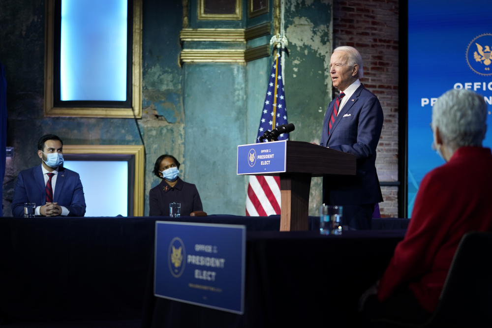 President-elect Joe Biden announces his climate and energy team nominees and appointees at The Queen Theater in Wilmington Del., on Dec. 20, 2020. He named his final nominees this past week, completing a diverse team of two dozen people.