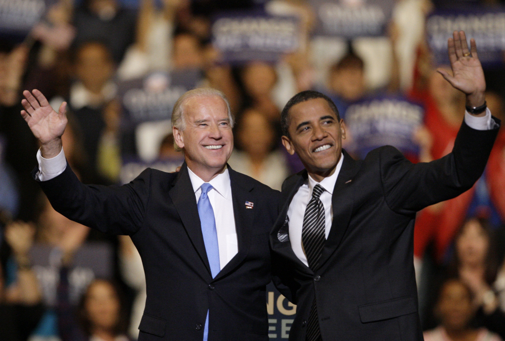 Vice presidential candidate Joe Biden, D-Del., and Democratic presidential candidate Sen. Barack Obama, D-Ill., take part in a rally at the Bank Atlantic Center in Sunrise, Fla., in 2008.