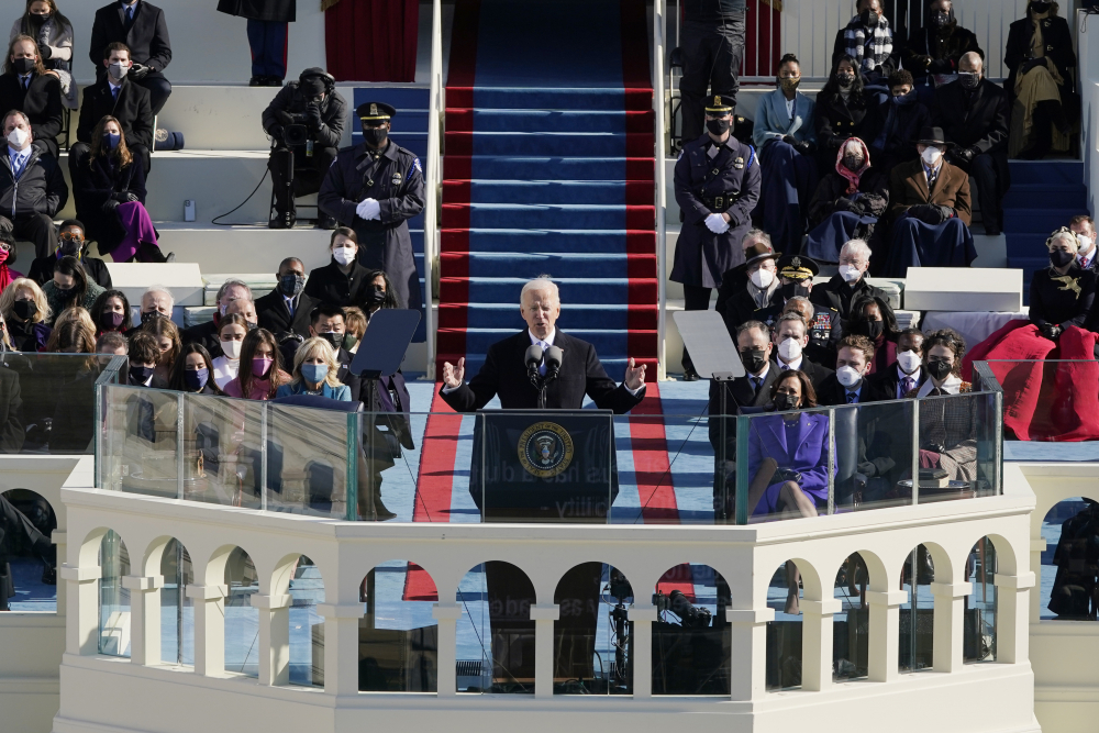 President Joe Biden speaks during the 59th Presidential Inauguration at the U.S. Capitol in Washington on Wednesday.