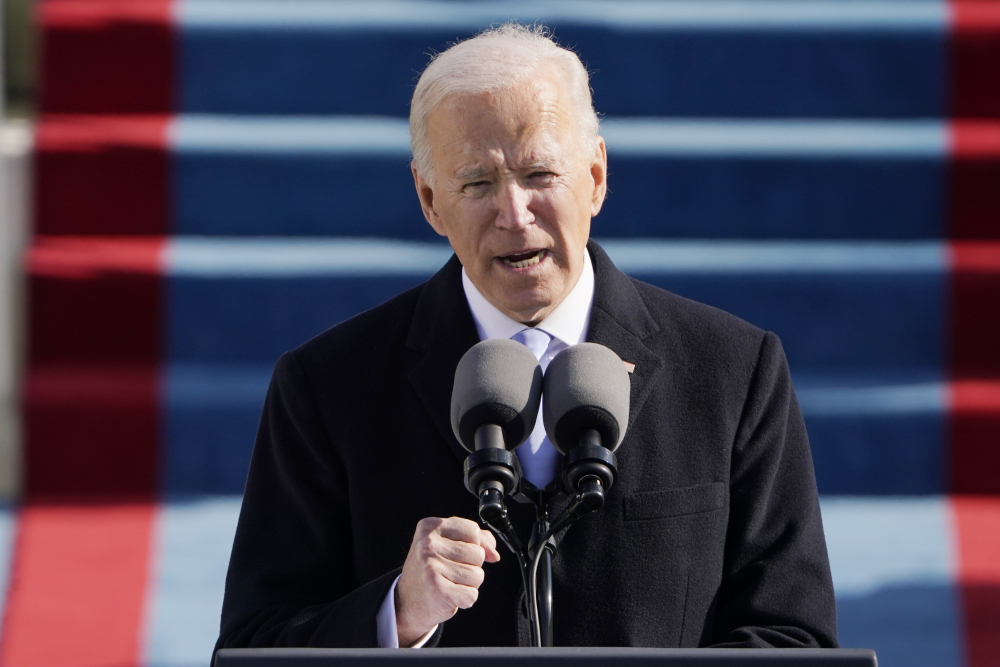 President Joe Biden speaks during the Presidential Inauguration at the U.S. Capitol in Washington on Wednesday.