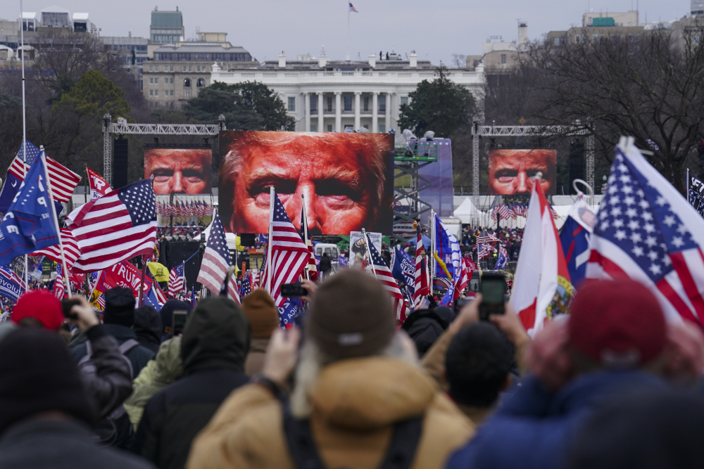 Trump supporters participate in a rally Jan. 6 in Washington.