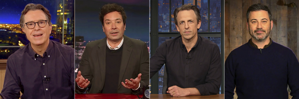 """This combination photo shows late night talk show hosts, from left, Stephen Colbert of """"The Late Show with Stephen Colbert,"""" Jimmy Fallon from """"The Tonight Show Starring Jimmy Fallon,"""" Seth Meyers from """"Late Night with Seth Meyers,"""" and Jimmy Kimmel from """"Jimmy Kimmel Live,"""" addressing the violence at the U.S. Capitol during their monologues on Wednesday."""