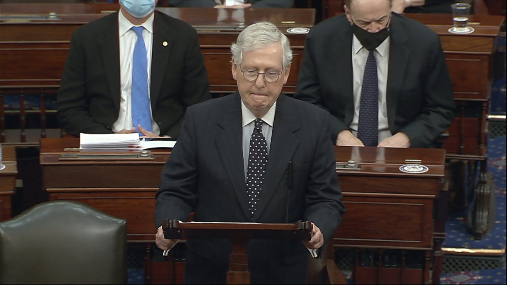 In this image from video, Senate Majority Leader Mitch McConnell of Ky., speaks as the Senate reconvenes after protesters stormed into the U.S. Capitol on Wednesday, Jan. 6.